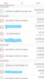 Alleged Simon Whittley-Ryan Bank Account Snapshot Submitted to the Court